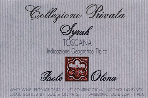Indicazione Geografica Tipica Toscana Syrah Isole e Olena 2017